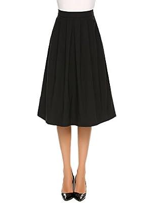 Vansop Women's High Elastic Waist A-line Flared Swing Midi Skirt with Pocket