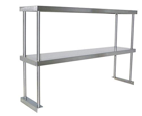 Adjustable Double Overshelf 12 x 84 - Stainless Steel