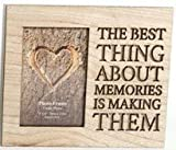The Home Fusion Company Wood Wooden Box Picture Photo Frame Cut Out Words 'The Best Thing About Memories Is Making Them'