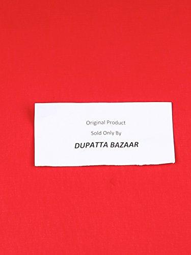 Dupatta Bazaar Woman's Red Chiffon Dupatta with Multicoloured Pompom by Dupatta Bazaar (Image #1)