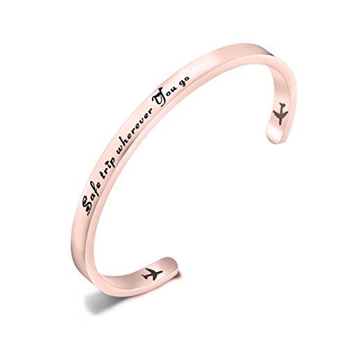 ENSIANTH Safe Travels Bracelet Pilot Gift Airplane Cuff Bracelet Traveling Bracelet Aviation Jewelry Flight Attendant Gift (Rose gold)