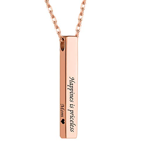 MeMoShe Personalized 4 Sided Vertical Bar Necklace, Custom Names Necklace Message Engraved Dainty Jewelry for ()