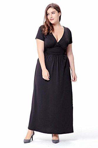Vestido de cuello en V para mujer de verano , xxxl , black