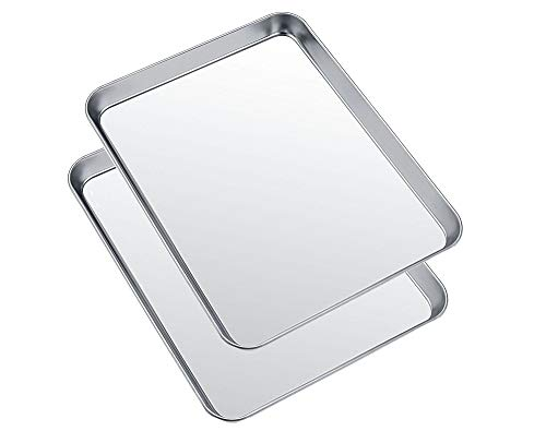 Small Baking Sheets Pans, HEAHYSI Mini Stainless Steel Cookie Sheets & Toaster Oven Tray Pan,Non Toxic & Healthy,Superior Mirror Finish & Easy Clean, Dishwasher Safe, 10.4 x 8 x 1 inch