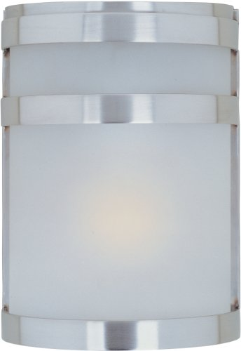 Maxim 86005FTSST Arc EE 1-Light Outdoor Wall Sconce Lantern, Stainless Steel Finish, Frosted Glass, GU24 Fluorescent Fluorescent Bulb , 60W Max., Dry Safety Rating, 2700K Color Temp, Standard Dimmable, Glass Shade Material, 1344 Rated Lumens