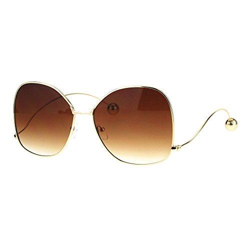 Womens Oversize Gradient Lens Swan Drop Temple Metal Rim Diva Sunglasses Gold Brown
