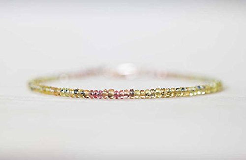 (JP_Beads Songea Sapphire Bracelet with Rose Gold FilledFilled Fill or Sterling Silver, Delicate Beaded Pink Orange Yellow Sapphire Jewelry 2-3mm 7 inches)