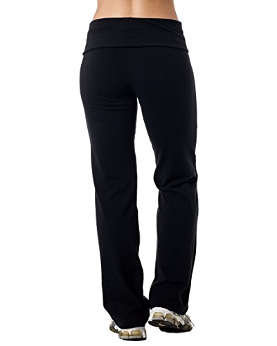 Alki'i Luxurious Cotton Lycra Fold over Yoga Pants, Black XL by Alki'i (Image #3)