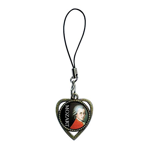 (GiftJewelryShop Ancient Bronze Retro Style Music Mozart Photo Heart Shaped Strap Hanging Chain for Phone Cell Phone Charm Bracelets)