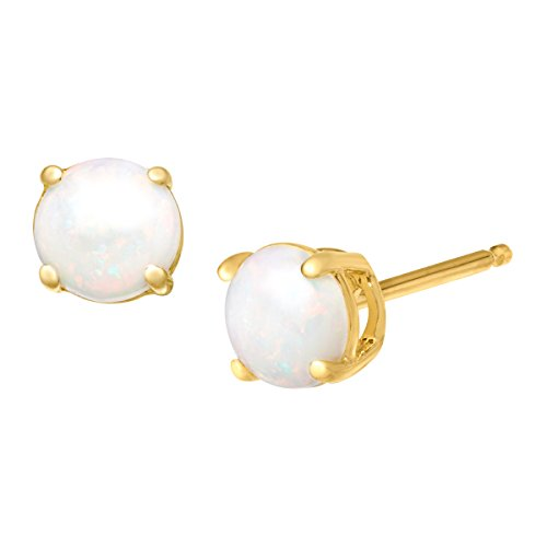 5/8 ct Natural Opal Stud Earrings in 10K - Natural Opal Earrings Stud