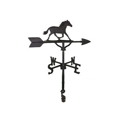 30 Weathervane Horse - Montague Metal Products 32-Inch Weathervane with Satin Black Horse Ornament