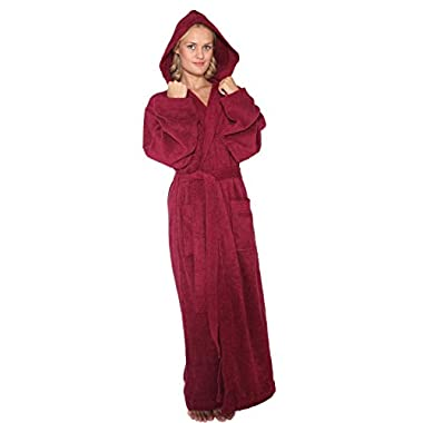 Arus Women's Pacific Style Full Length Hooded Turkish Cotton Bathrobe, XL, Burgundy