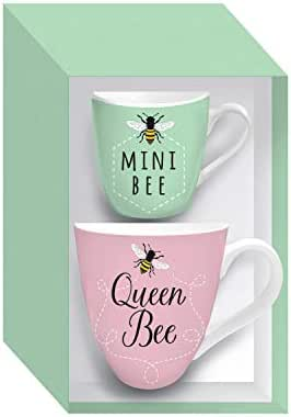 Queen Bee & Mini Bee Mommy & Me Ceramic Cup Set - 4 x 4 x 6 Inches