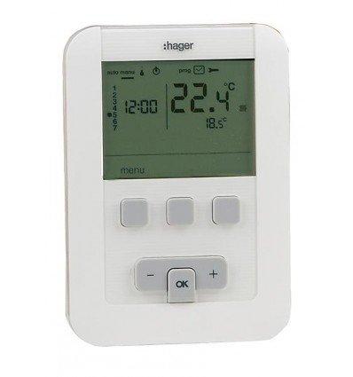 Hager sas - Termostato de ambiente programable - HAGER EK570 con pilas LR6 - : EK570