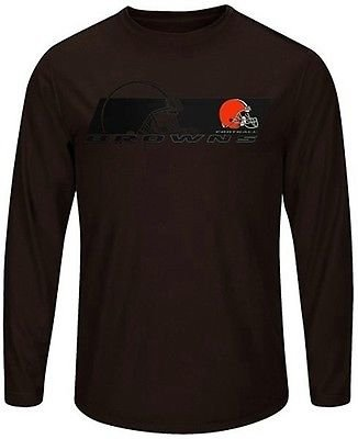 (Majestic Athletic Cleveland Browns Mens Long Sleeve Synthetic Storm Shirt Brown Big & Tall Sizes (2X))