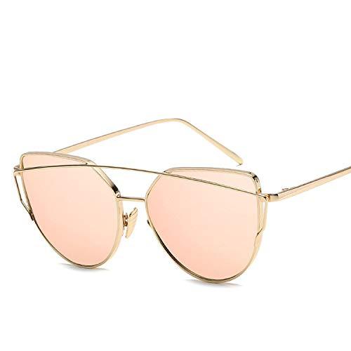 Metal Sunglasses Women Cat Eye Mirror Rose Gold Vintage Sun Glasses Lady Eyewear,C4 -