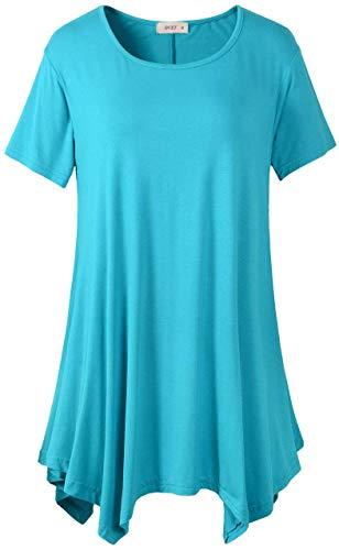 Short Sleeved Shirt Full Denim - Ovet Womens Medium-Long Style Short Sleeved T Shirt Loose Fit Comfy Flattering Swing Tunic Tops