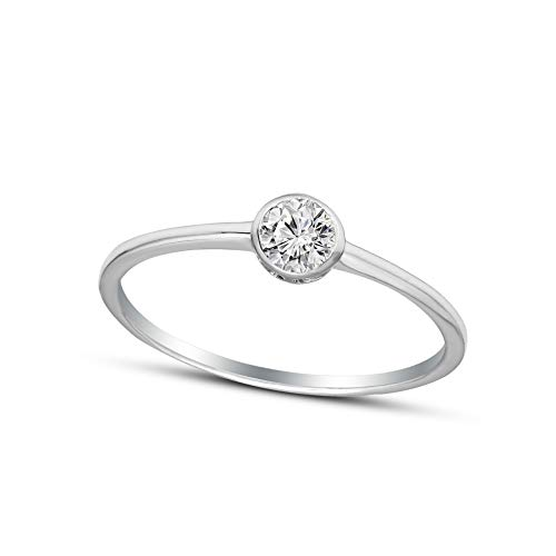 - 100% Pure Diamond Solitaire Bezel Ring IGI Certified 1/3 ct Natural Diamond Ring For Women I2-Clarity 14K White Gold Diamond Jewelry Gifts For Women (GH-Color) (Jewelry Gifts For Women)