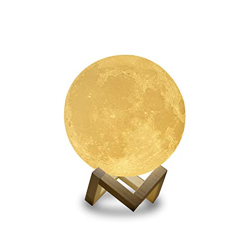 Sybedu (5.9 inch) Moon Lamp,3D Printed Children Night Lights for Bedroom Bedside, Eye Caring LED with USB Recharge, 2 Colors Adjustable Brightness