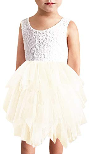 Ivory Tulle Flower Girl Dresses (2Bunnies Girl Beaded Peony Lace Back A-Line Tiered Tutu Tulle Flower Girl Dress (No Applique Ivory,)