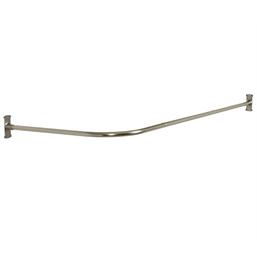 Zenna Home 33941BN, NeverRust Aluminum L Shaped Corner Shower Curtain Rod, Satin Nickel (Corner Curtain)