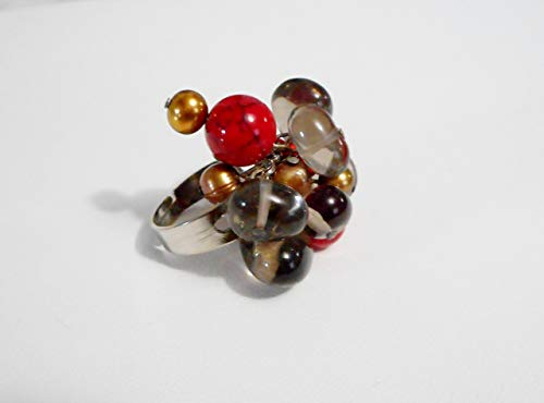 Smokey Glass Beads & Cultured Freshwater Pearl Adjustable Ring