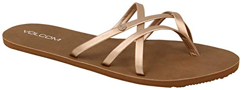 Volcom Women's Women's New School Dress Sandal Flat Sandal, Rose Gold, 7 B US