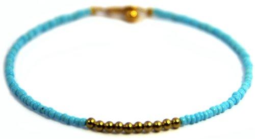 [Handmade Anklet, Blue Beads, Bohemian (P5)] (Indian Beaded Bracelet)