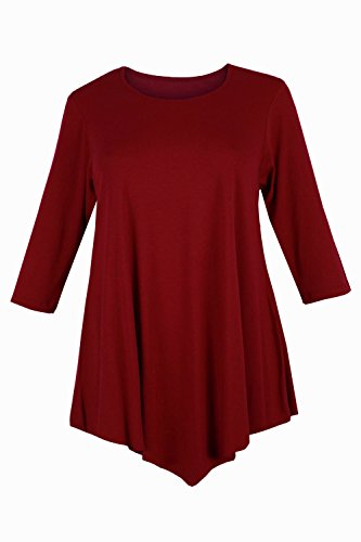 Curvylicious Women's Plus Size 3/4 Sleeve Round Neck Tunic Top – 28-30 Plus, Wine