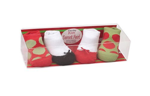 Seamless Toe 4 Pair Gift Set Country Kids Baby Girls Soft Organic Cotton Christmas Holiday Stocking Filler Polka Dot Socks