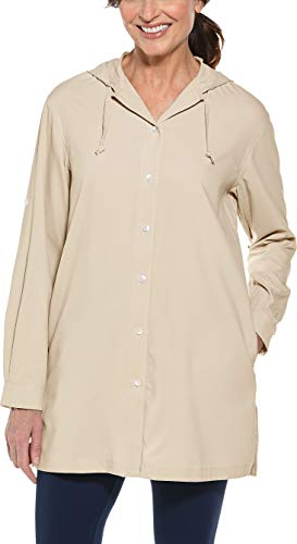 Coolibar UPF 50+ Women's Beach Shirt - Sun Protective (X-Small- Khaki)