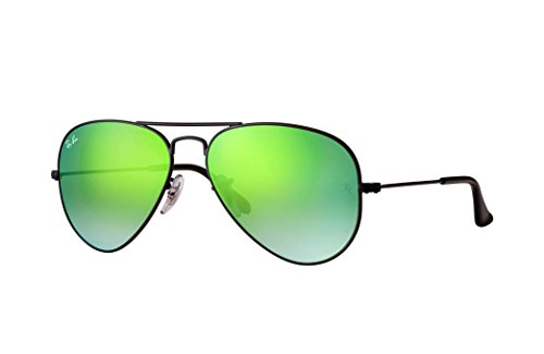 Ray Ban RB3025 AVIATOR LARGE METAL 002/4J 62M Shiny Black/Green Gradient Mirror Sunglasses For Men For Women