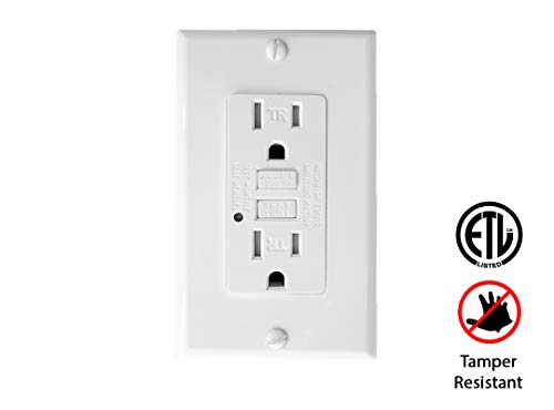 (TEKLECTRIC - GFCI Receptacle 15A 125V Tamper Resistant + Wall Plate - GFCI Outlet 15 AMP 125 VOLT Grounded - Wall Plate and Screws Included)