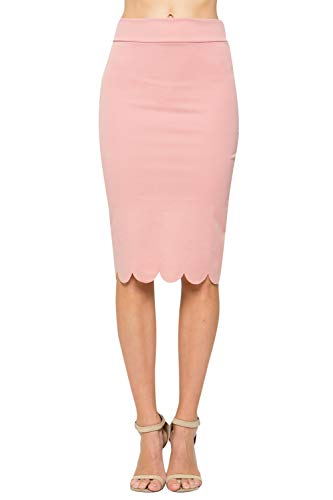(Junky Closet Women's Scallops Knee Length High Waisted Pencil Skirt (Made in USA) (Small, 3635CLAF Dusty Pink))