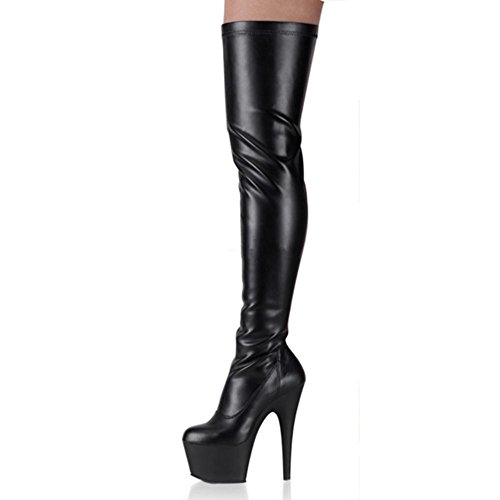 Delight Mat Artificielle Long Cuisse Femmes à Heel PU Sexy NVXIE Nouvelle Stretch Nightclub EUR37UK455 de Hiver Imperméable Automne Super Noir Party High Bottes Boot 15CM l'eau Dames Mode 80ccRqgW