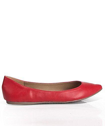 Breckelles Mujeres Talia-11 Faux Leather Pointed Toe Ballet Flats Rojo Pu-l