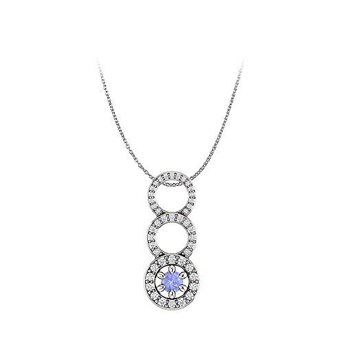 Graduated Circle Tanzanite Diamond Pendant in 14K Gold