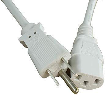 UL Listed OMNIHIL White 15 Feet Long AC Power Cord Compatible with BenQ MW85IUST Projector