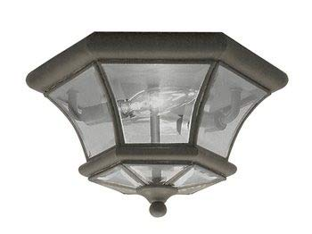 Livex Lighting 7052-07 Monterey 2 Light Outdoor/Indoor Bronze Finish Solid Brass Flush Mount  with Clear Beveled Glass ()