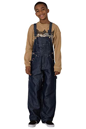 - Vibes Boy's Dark Indigo Shiny Denim Carpenter Overalls Size XL
