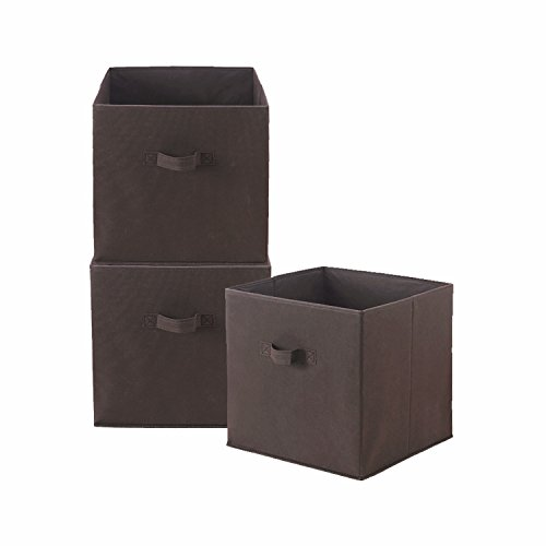 HollyHOME Foldable Storage Cube Bin Collapsible Basket Shelf Storage Organizer Containers Drawers with 2 Handles, 3 Pack, Dark Brown