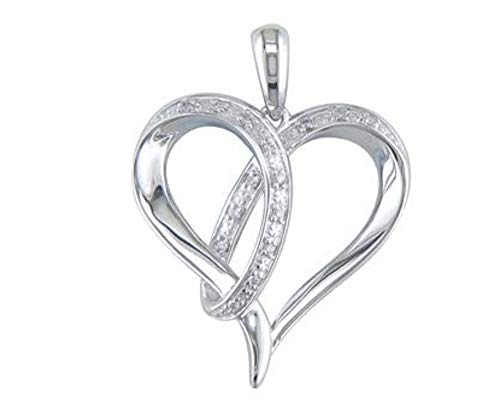 JMS Jewelry Sterling Silver Pave Diamond Heart Pendant with 18