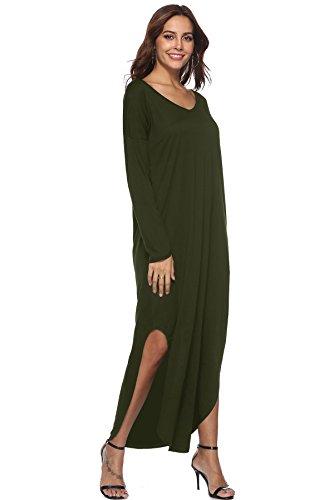 Single a Camicia lunghe casual donna Vestito maniche diviso Myshow taschino con Green Army azxSwq55v