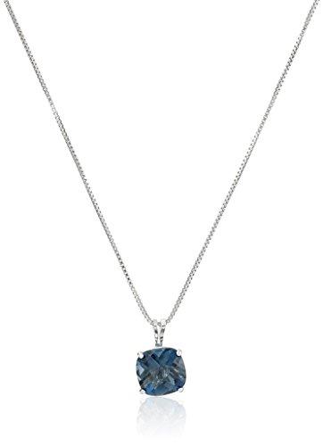 Sterling Silver Cushion-Cut Checkerboard London Blue Topaz Pendant Necklace (8mm) (London Blue Topaz)