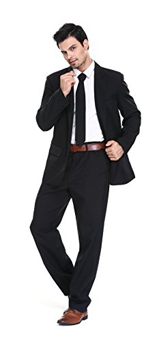 U LOOK UGLY TODAY Men's Party Suit Black Solid Color Bachelor Party Suit-Large -