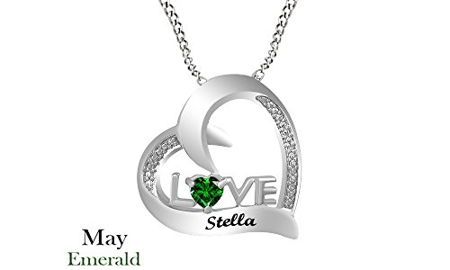 Personalized Engravable Simulated Emerald Couple's Love Heart Pendant Necklace Sterling Silver by Jewel Zone US
