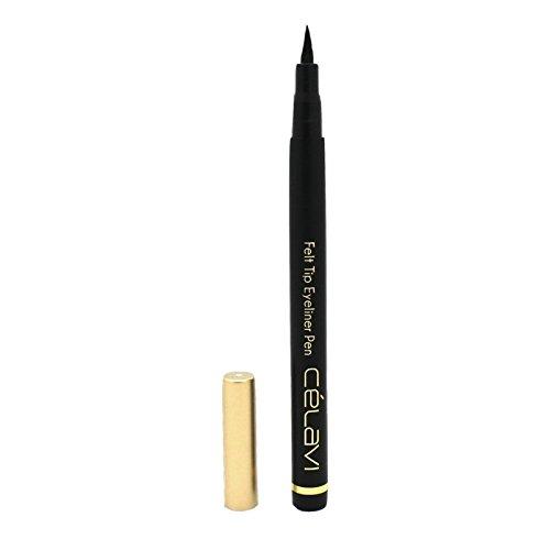 Celavi Waterproof Precision Liquid Felt Tip Eyeliner Pen, Black, .08 Oz -