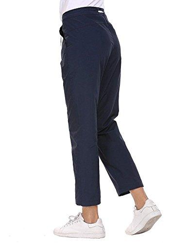 Leggings High Libero Coulisse Dunkelblau Autunno Sport Casual Jogging Con Monocromo Moda Primaverile Tempo Chic Pantaloni Pants Donna Cute Eleganti Waist 4Fwqd4