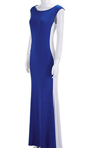 La Mujer Es Elegante Sin Mangas Vestido De Noche Vestido De Fiesta Largo Blue