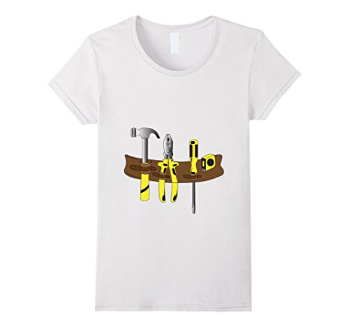 [Womens Workman Tool Belt Shirt | Handyman Costume for Toddlers Large White] (Toddler Handyman Costume)